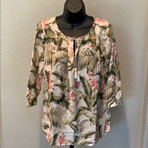 Tommy Bahama Floral Shirt Top Blouse Tunic